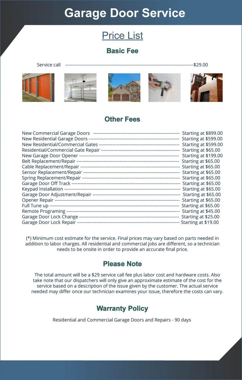 Price List Exclusive Garage Door Service